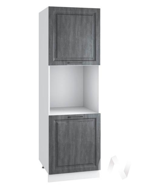 "Кухня ""Либерти"": Шкаф пенал 600, ШП 600 (Холст грей/корпус белый)"