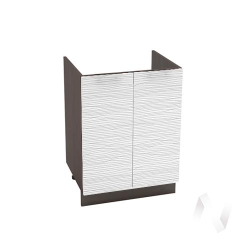 "Кухня ""Валерия-М"": Шкаф нижний под мойку 600, ШНМ 600 (Страйп белый/корпус венге)"