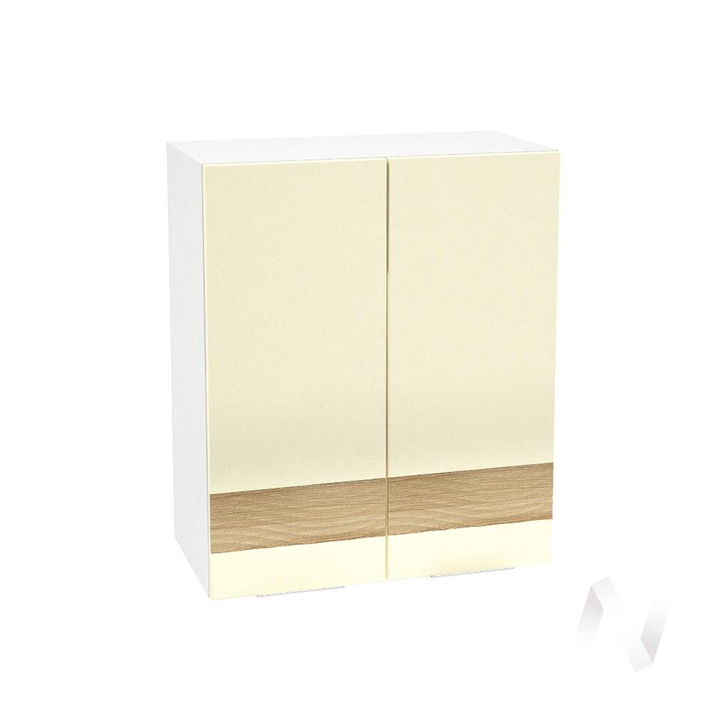 """Кухня """"Терра"""": Шкаф верхний 600, ШВ 600 (ваниль софт/ель карпатская/корпус белый)"""