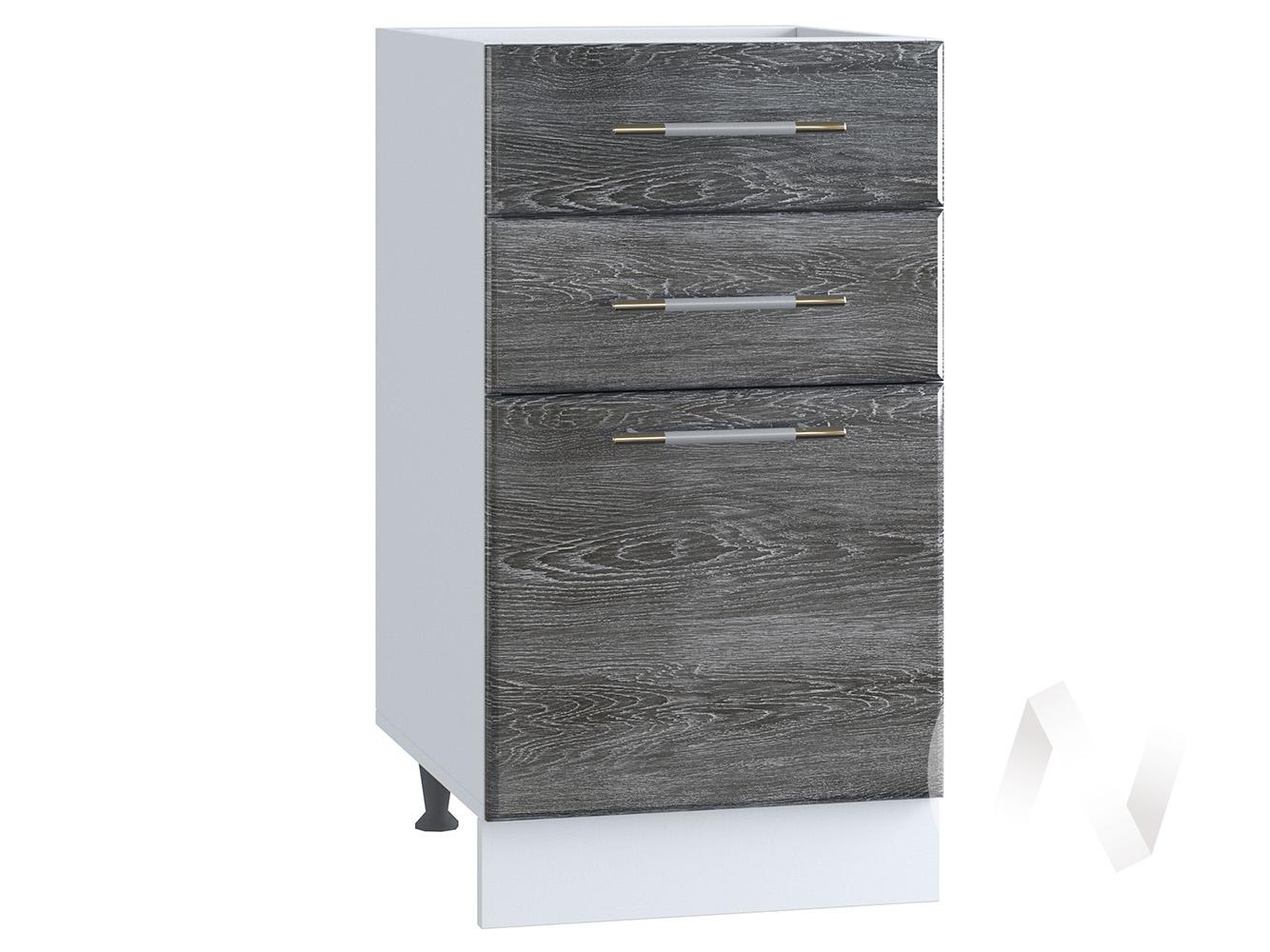 """Кухня """"Танго"""": Шкаф нижний с 3-мя ящиками 400, ШН3Я 400 (Дуб шале серебро/корпус белый)"""