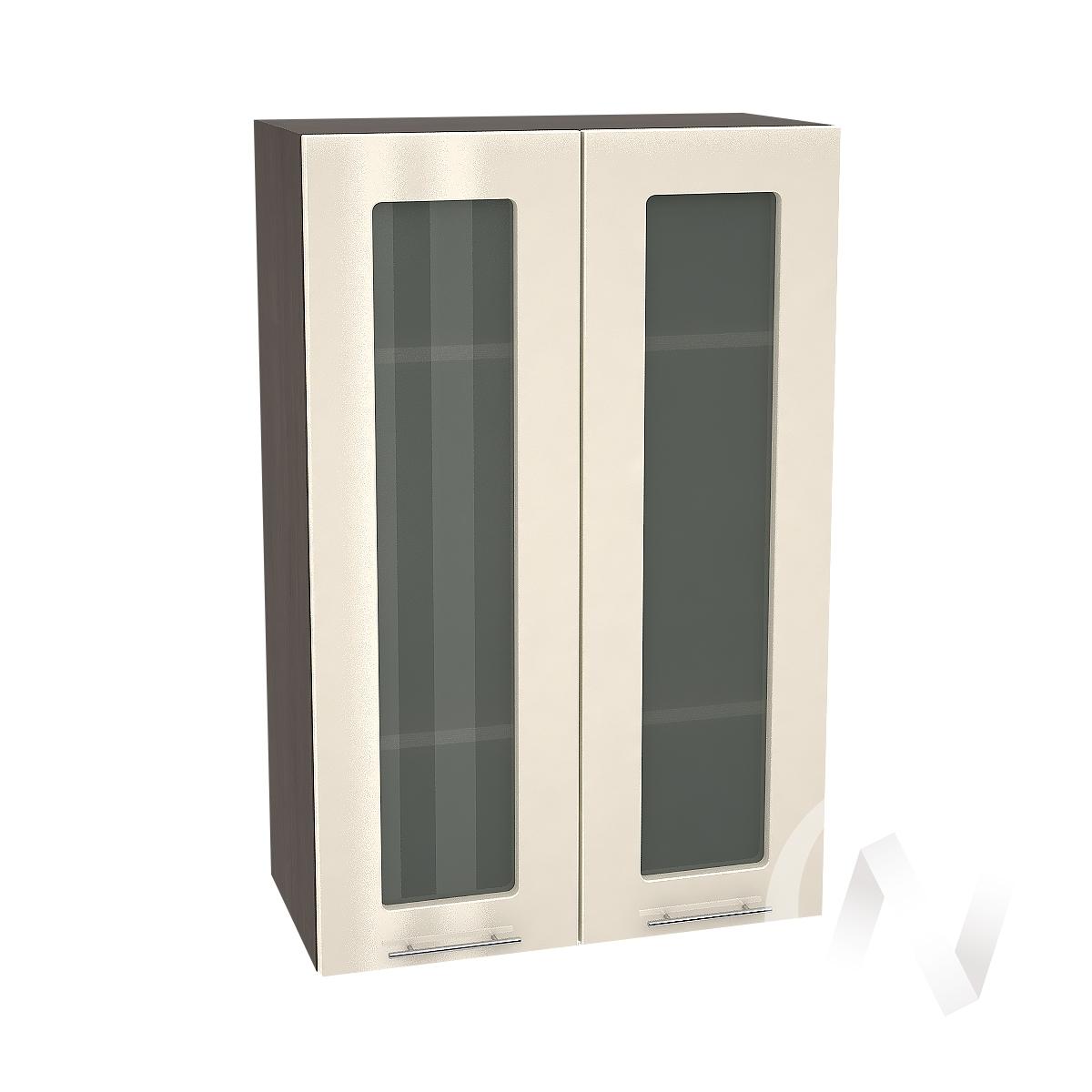 """Кухня """"Валерия-М"""": Шкаф верхний со стеклом 609, ШВС 609 новый (Ваниль глянец/корпус венге)"""