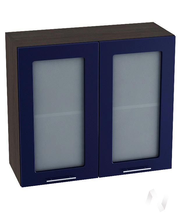 """Кухня """"Валерия-М"""": Шкаф верхний со стеклом 800, ШВС 800 новый (Синий глянец/корпус венге)"""