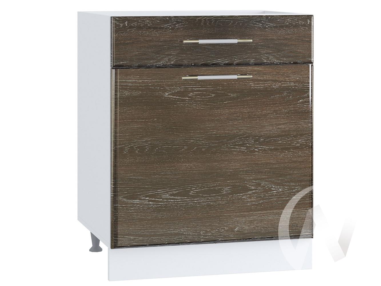 """Кухня """"Танго"""": Шкаф нижний с ящиком 600, ШН1Я 600 М (Дуб шале мореный/корпус белый)"""