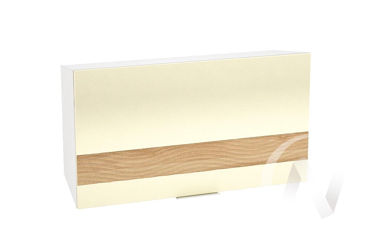 """Кухня """"Терра"""": Шкаф верхний горизонтальный 809, ШВГ 809 (ваниль софт/ель карпатская/корпус белый)"""
