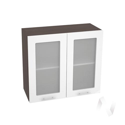 """Кухня """"Валерия-М"""": Шкаф верхний со стеклом 800, ШВС 800 новый (белый глянец/корпус венге)"""