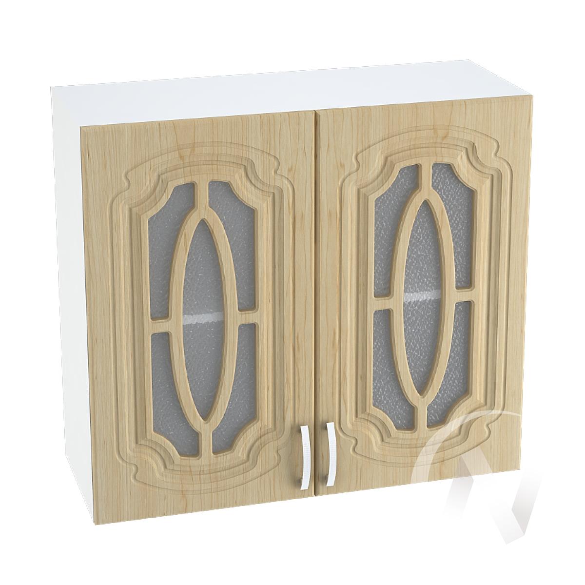 """Кухня """"Настя"""": Шкаф верхний со стеклом 800, ШВС 800 (Береза/корпус белый)"""
