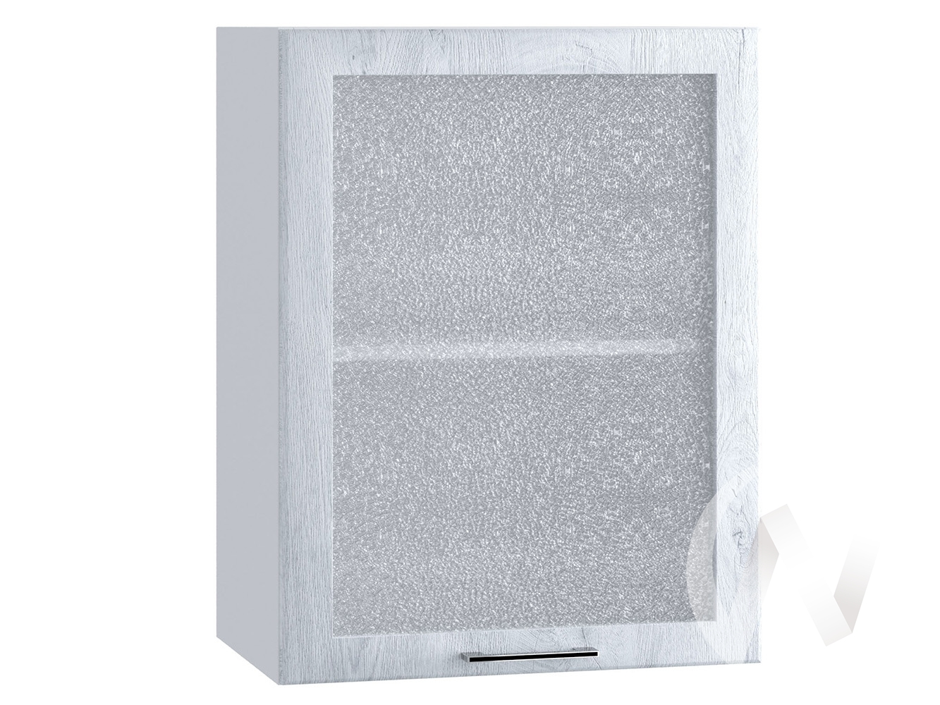 "Кухня ""Палермо"": Шкаф верхний со стеклом 500, ШВС 500 (Дуб остин серый/корпус белый)"