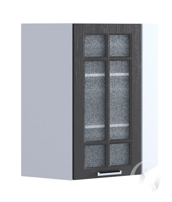 "Кухня ""Луксор"": Шкаф верхний угловой со стеклом 599, ШВУС 599 (Клен серый/корпус белый)"