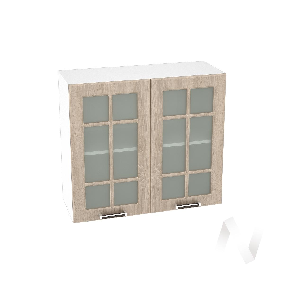 """Кухня """"Прага"""": Шкаф верхний со стеклом 800, ШВС 800 новый (дуб сонома/корпус белый)"""