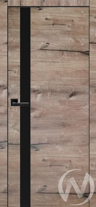 Дверь ЭКШ Тип Royal-2, 60, Дуб пацифика (темный), стекло черное