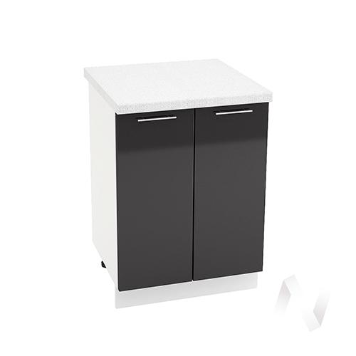 """Кухня """"Валерия-М"""": Шкаф нижний 600, ШН 600 новый (черный металлик/корпус белый)"""