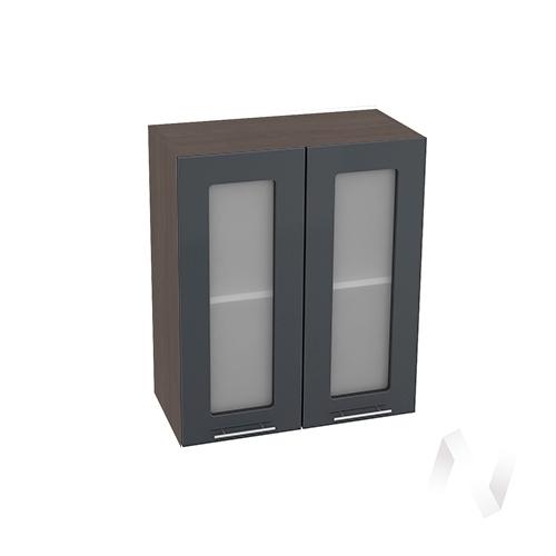 """Кухня """"Валерия-М"""": Шкаф верхний со стеклом 600, ШВС 600 новый (Антрацит глянец/корпус венге)"""