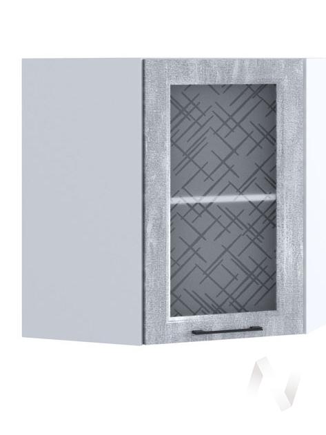 """Кухня """"Либерти"""": Шкаф верхний угловой со стеклом 590, ШВУС 590 (Холст натуральный/корпус белый)"""