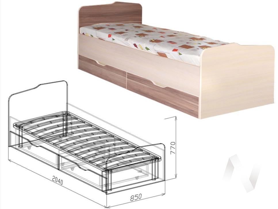 Евро М15 Кровать с ящиками 800*2000  (бодега бежевый - ясень шимо темный)