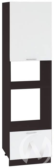 """Кухня """"Валерия-М"""": Шкаф пенал 606МН, ШП 606МН (белый глянец/корпус венге)"""
