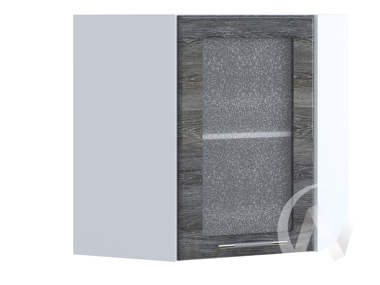 "Кухня ""Танго"": Шкаф верхний угловой со стеклом 590, ШВУС 590 (Дуб шале серебро/корпус белый)"