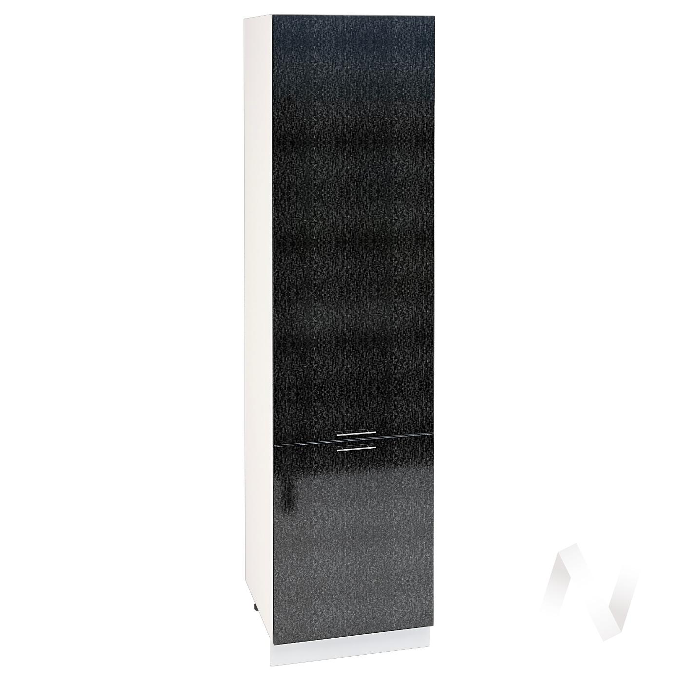 """Кухня """"Валерия-М"""": Шкаф пенал 600, ШП 600 НМ (дождь черный/корпус белый)"""