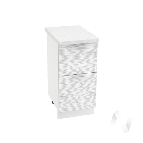 "Кухня ""Валерия-М"": Шкаф нижний с 2-мя ящиками 400, ШН2Я 400 (Страйп белый/корпус белый)"