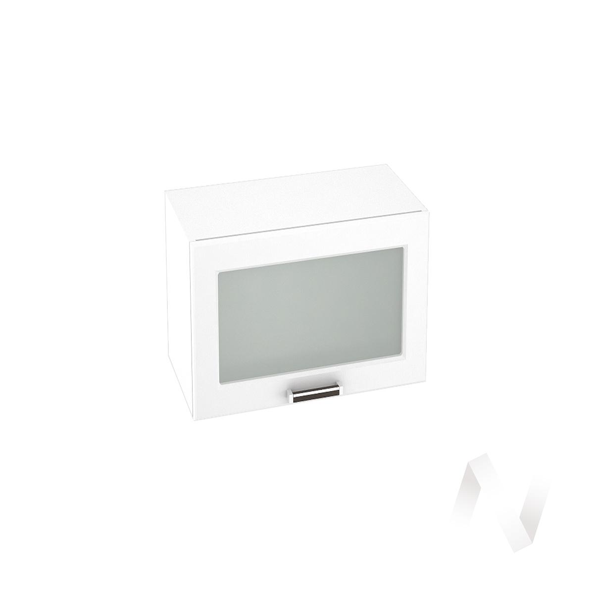"""Кухня """"Прага"""": Шкаф верхний горизонтальный со стеклом 609, ШВГС 609 (белое дерево/корпус белый)"""