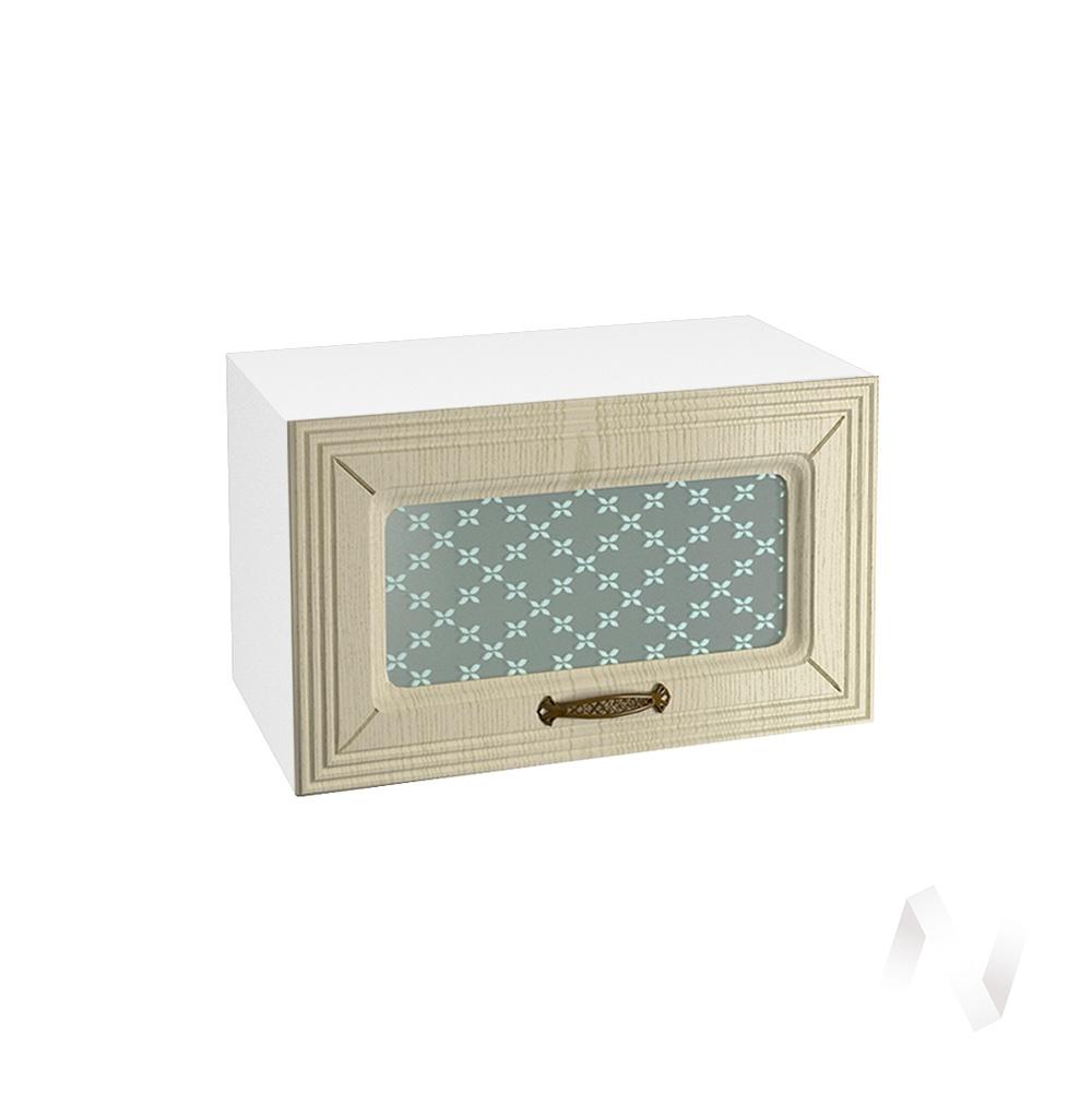"""Кухня """"Изабель"""": Шкаф верхний горизонтальный со стеклом 600, ШВГС 600 (корпус белый)"""