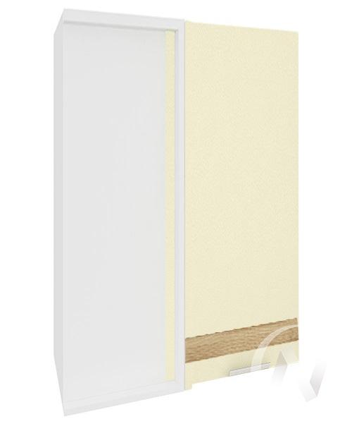 """Кухня """"Терра"""": Шкаф верхний угловой левый 699, ШВУ 699 (ваниль софт/ель карпатская/корпус белый)"""