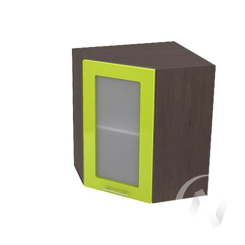 """Кухня """"Валерия-М"""": Шкаф верхний угловой со стеклом 590, ШВУС 590 (лайм глянец/корпус венге)"""