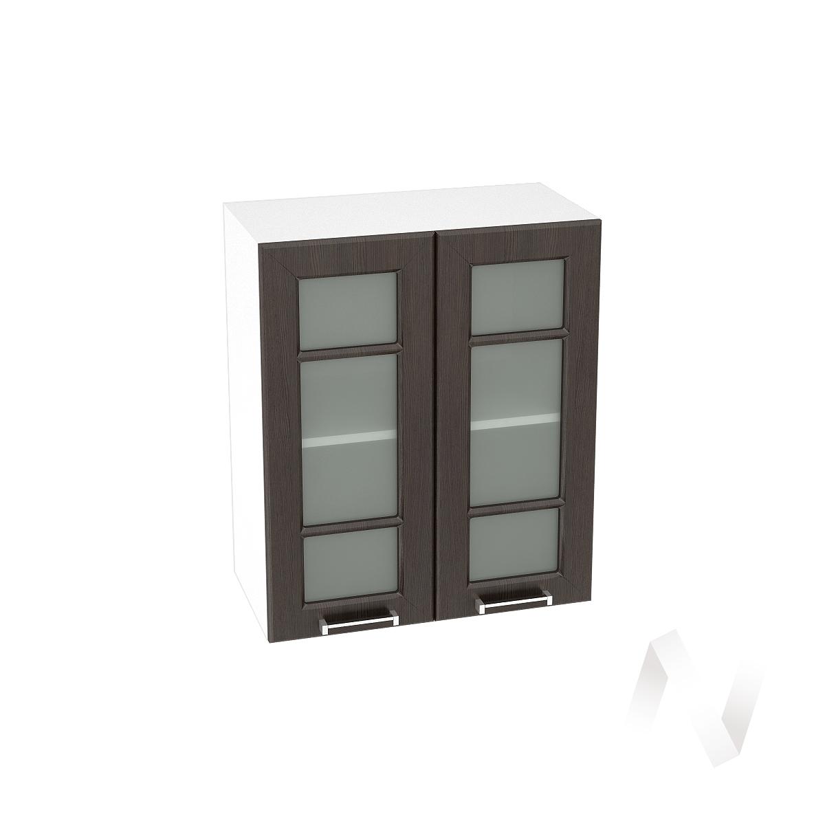 """Кухня """"Прага"""": Шкаф верхний со стеклом 600, ШВС 600 новый (венге/корпус белый)"""