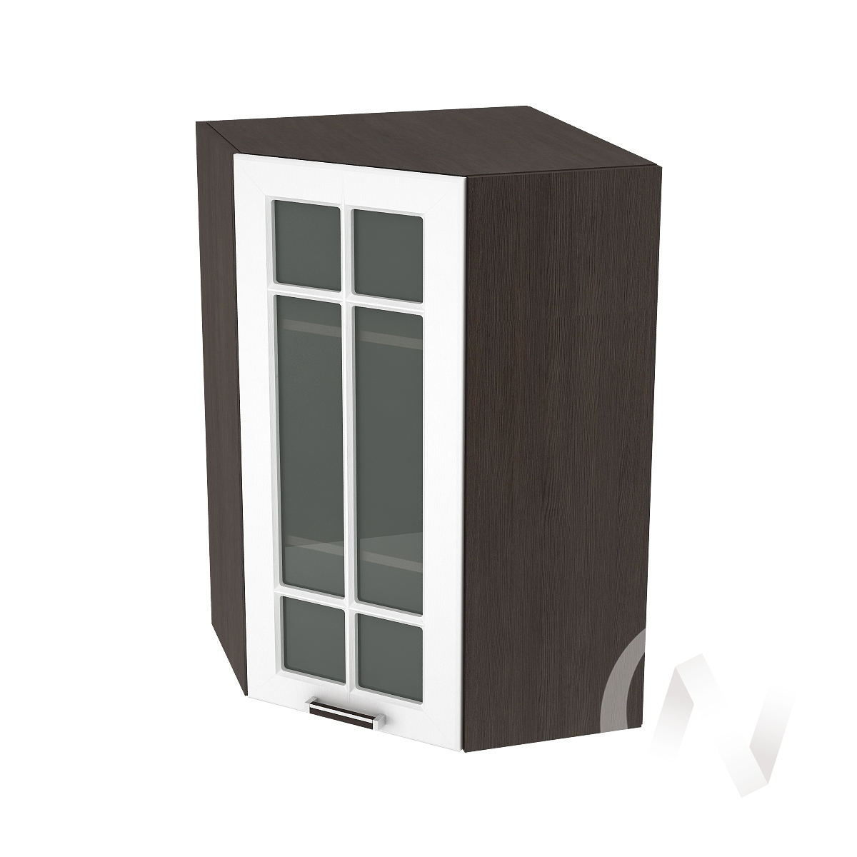 """Кухня """"Прага"""": Шкаф верхний угловой со стеклом 599, ШВУС 599 (белое дерево/корпус венге)"""