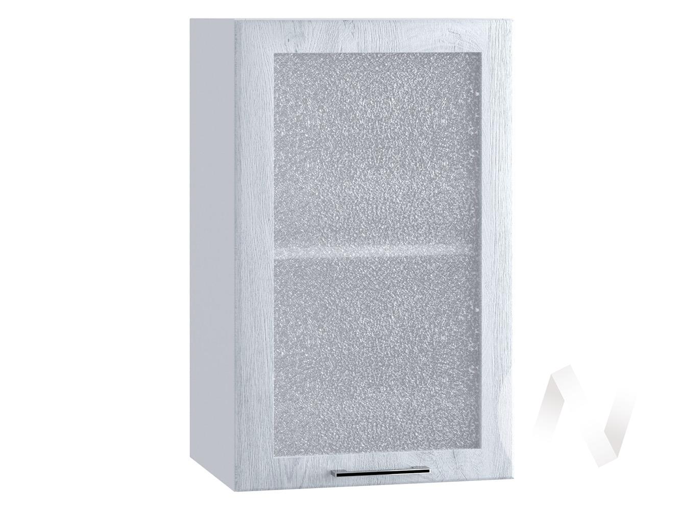 "Кухня ""Палермо"": Шкаф верхний со стеклом 400, ШВС 400 (Дуб остин серый/корпус белый)"