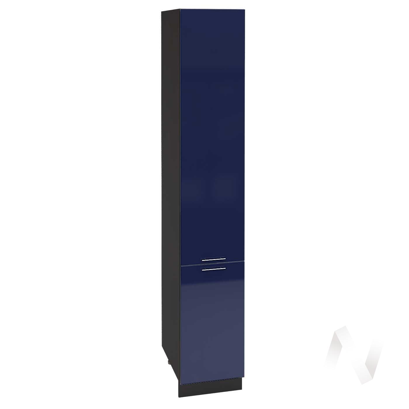 "Кухня ""Валерия-М"": Шкаф пенал 400, ШП 400Н (Синий глянец/корпус венге)"