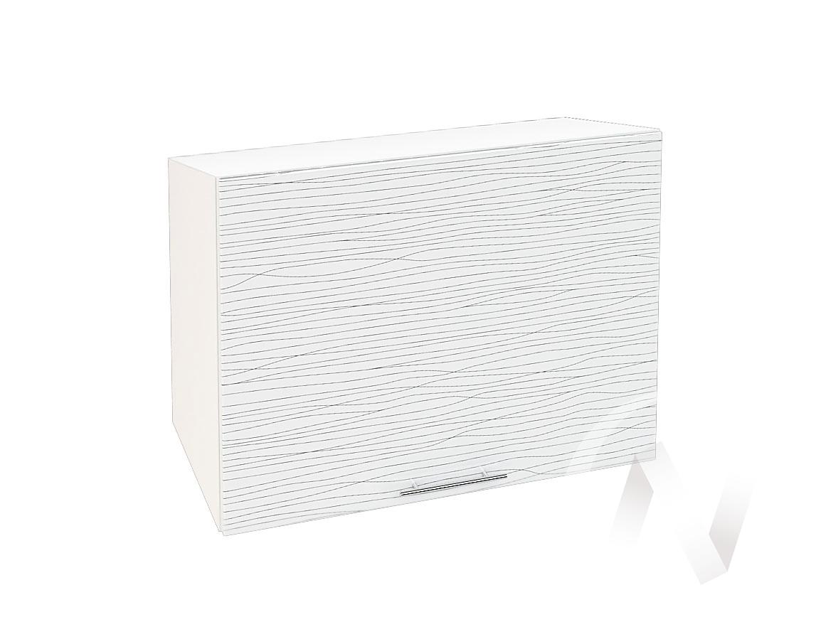 """Кухня """"Валерия-М"""": Шкаф верхний горизонтальный 609, ШВГ 609 (Страйп белый/корпус белый)"""
