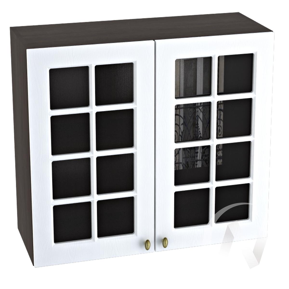 """Кухня """"Прованс"""": Шкаф верхний со стеклом 800, ШВС 800 новый (белое дерево/корпус венге)"""