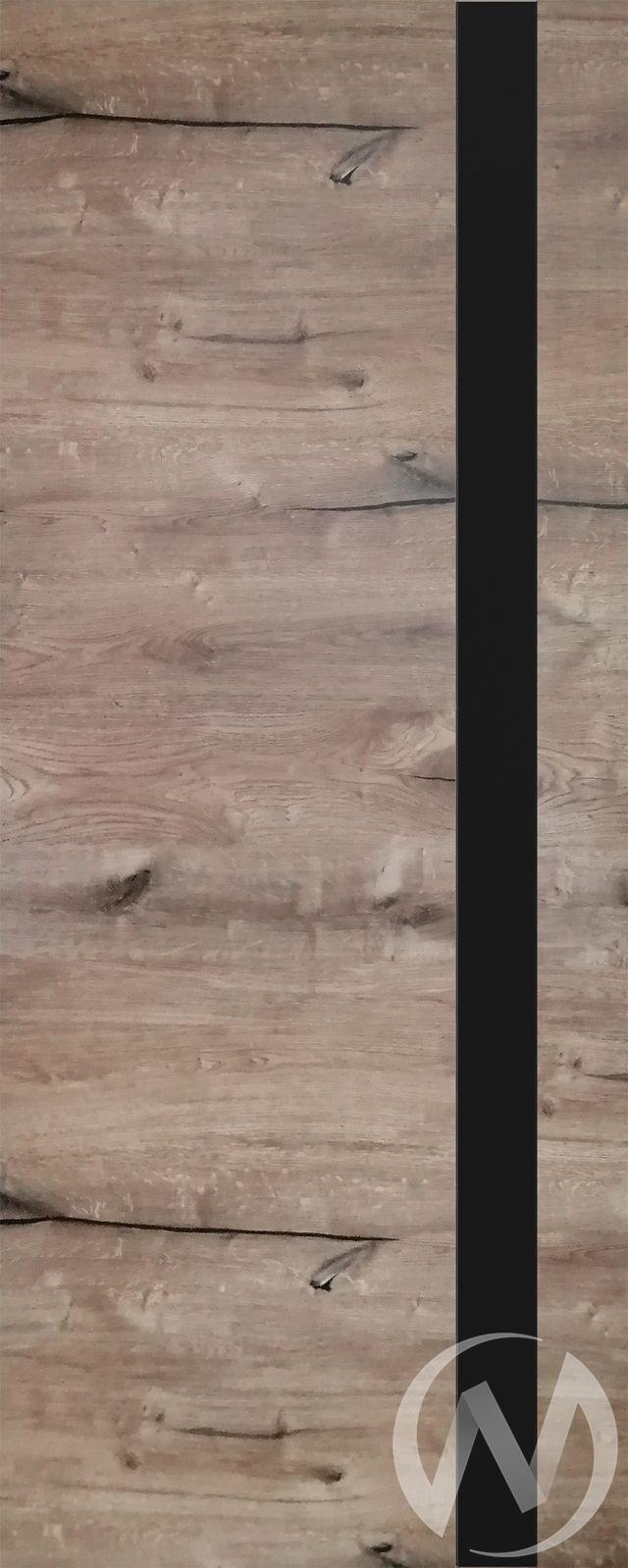 Дверь ЭКШ (Тип Royal-2, 60, Дуб пацифика (темный), стекло черное)  в Томске — интернет магазин МИРА-мебель