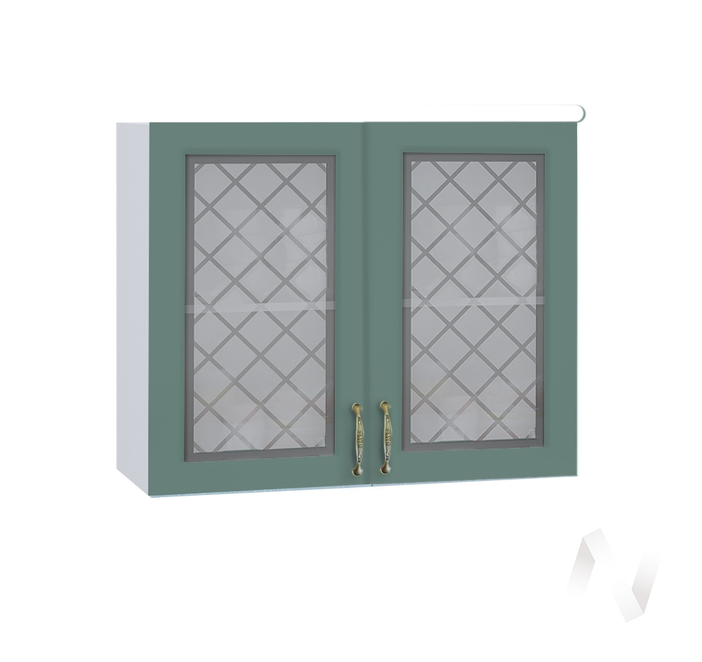 """Кухня """"Селена"""": Шкаф верхний со стеклом 800, ШВС 800 новый (Дуб бирюзовый/корпус белый)"""
