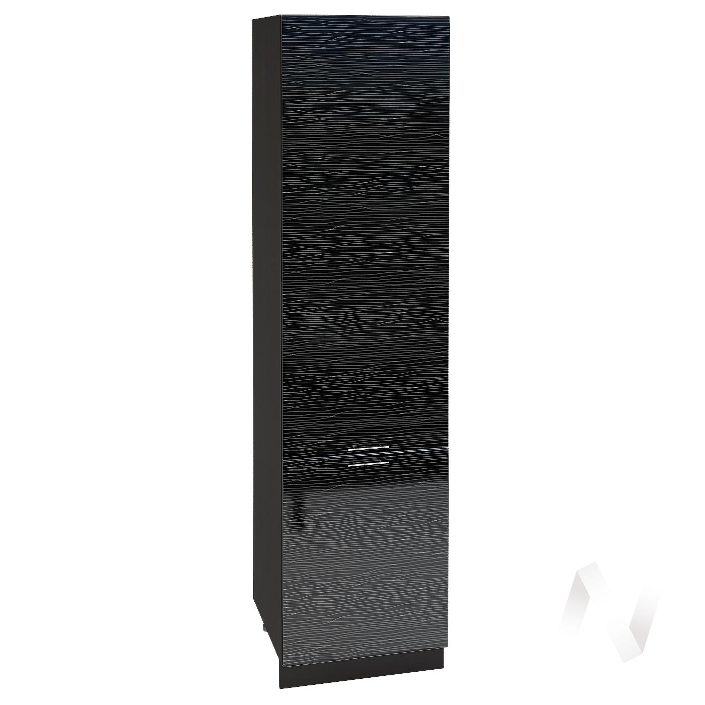 """Кухня """"Валерия-М"""": Шкаф пенал 600, ШП 600НМ (Страйп черный/корпус венге)"""