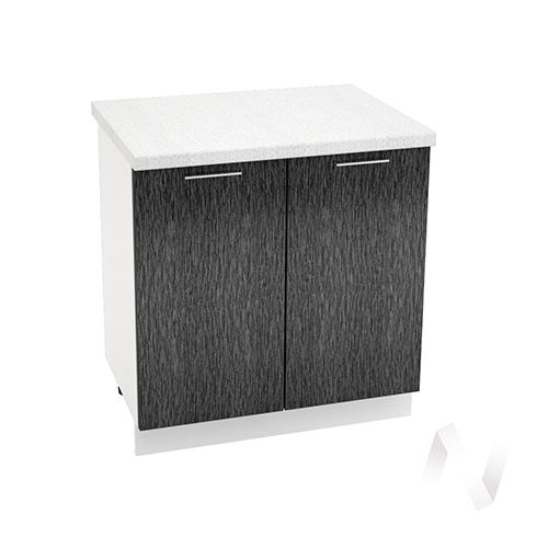 """Кухня """"Валерия-М"""": Шкаф нижний 800, ШН 800 новый (дождь черный/корпус белый)"""