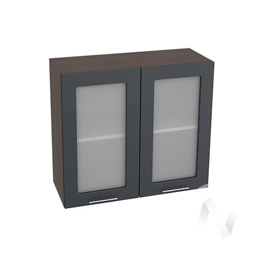 """Кухня """"Валерия-М"""": Шкаф верхний со стеклом 800, ШВС 800 новый (Антрацит глянец/корпус венге)"""