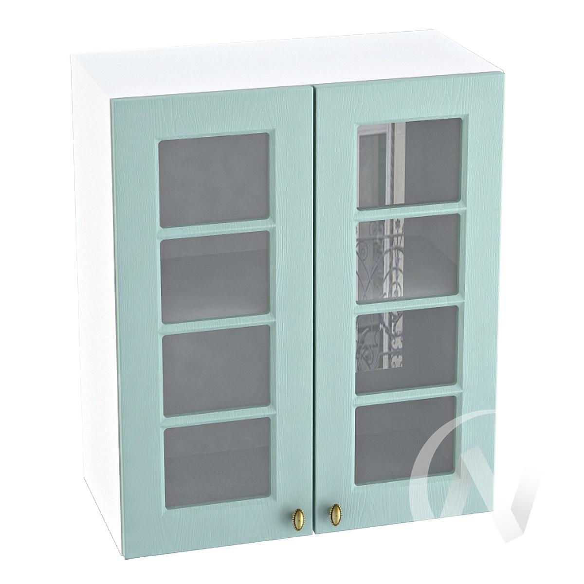 """Кухня """"Прованс"""": Шкаф верхний со стеклом 600, ШВС 600 новый (голубой/корпус белый)"""