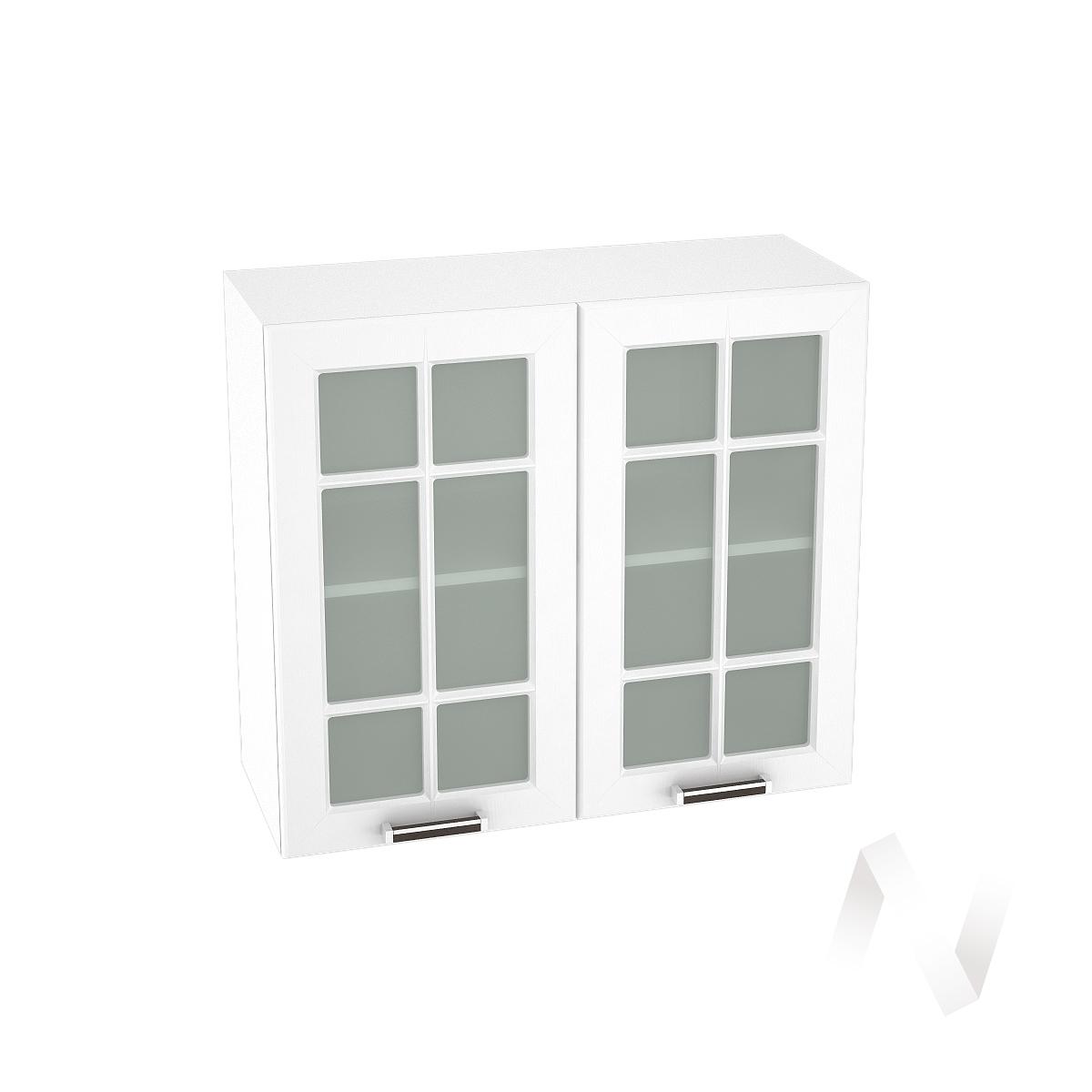 """Кухня """"Прага"""": Шкаф верхний со стеклом 800, ШВС 800 новый (белое дерево/корпус белый)"""