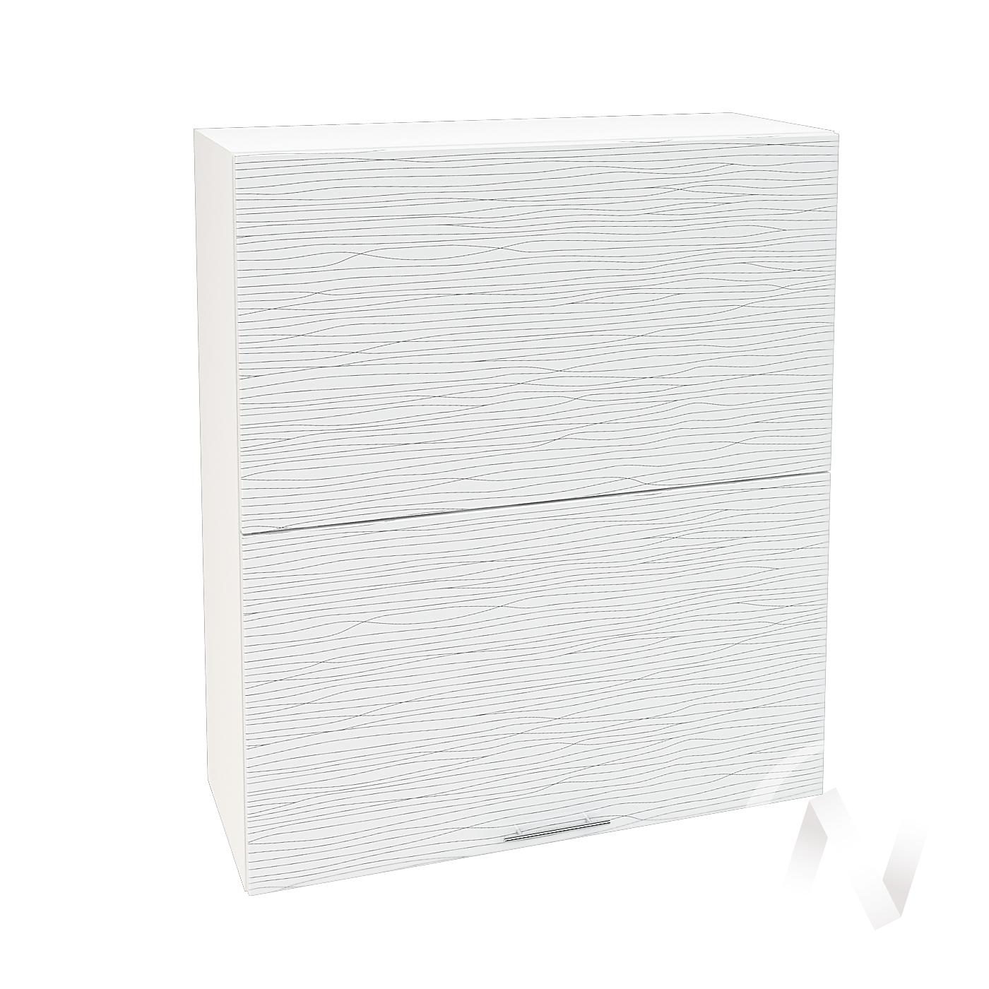 """Кухня """"Валерия-М"""": Шкаф верхний горизонтальный 802, ШВГ 802 (Страйп белый/корпус белый)"""