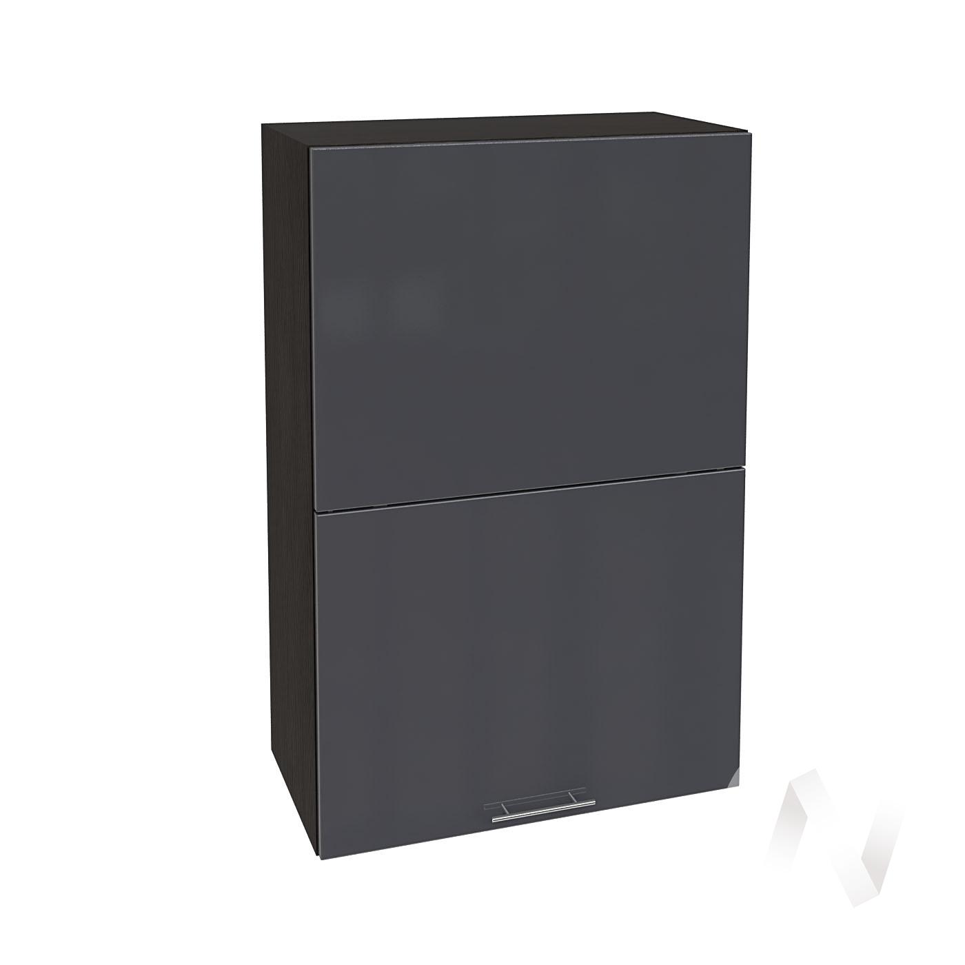 """Кухня """"Валерия-М"""": Шкаф верхний горизонтальный 602, ШВГ 602 (Антрацит глянец/корпус венге)"""