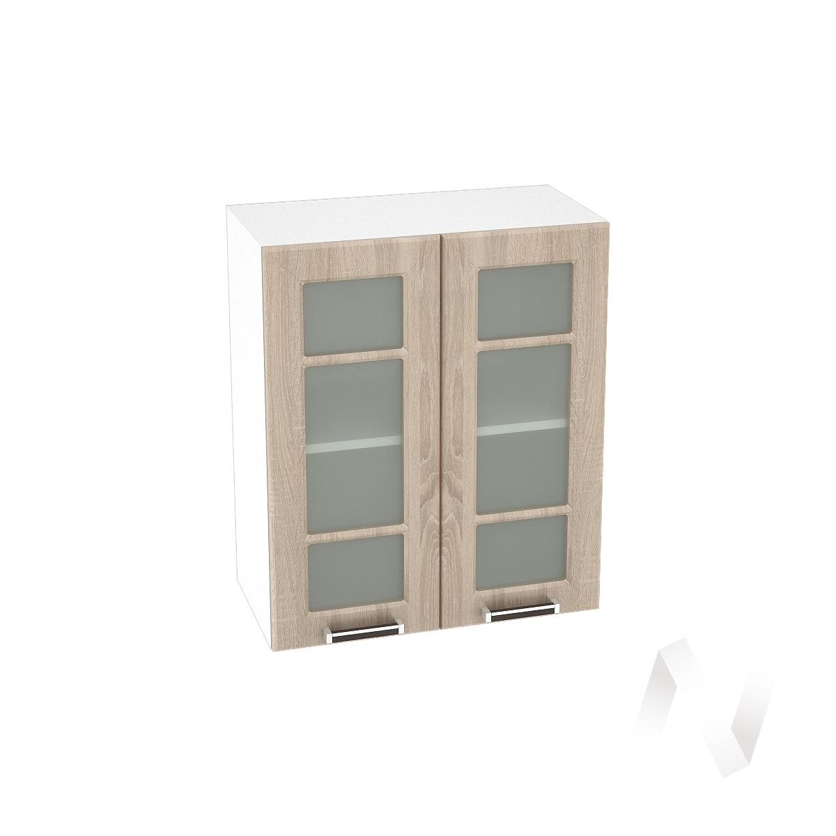 """Кухня """"Прага"""": Шкаф верхний со стеклом 600, ШВС 600 новый (дуб сонома/корпус белый)"""