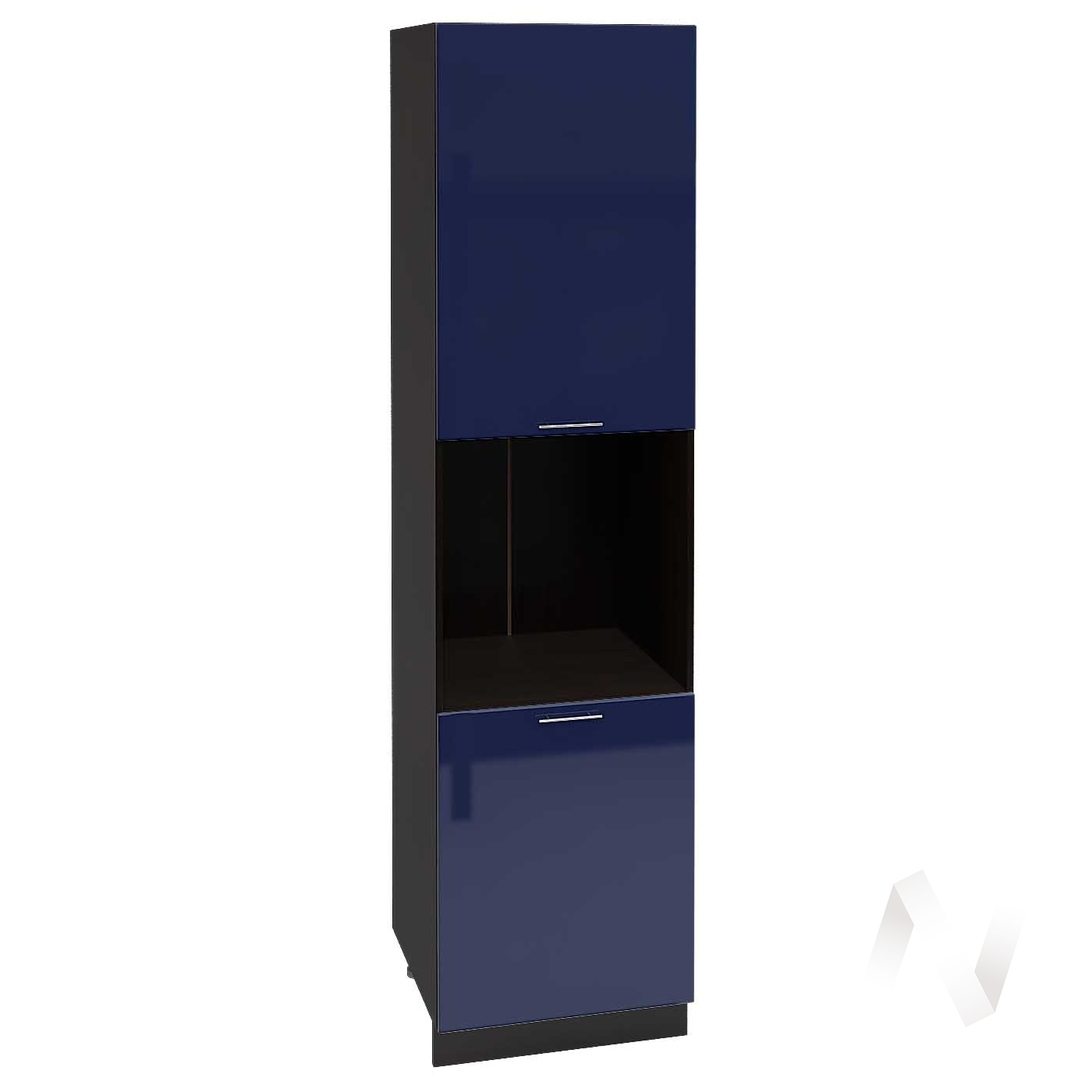 "Кухня ""Валерия-М"": Шкаф пенал 600, ШП 600Н (Синий глянец/корпус венге)"