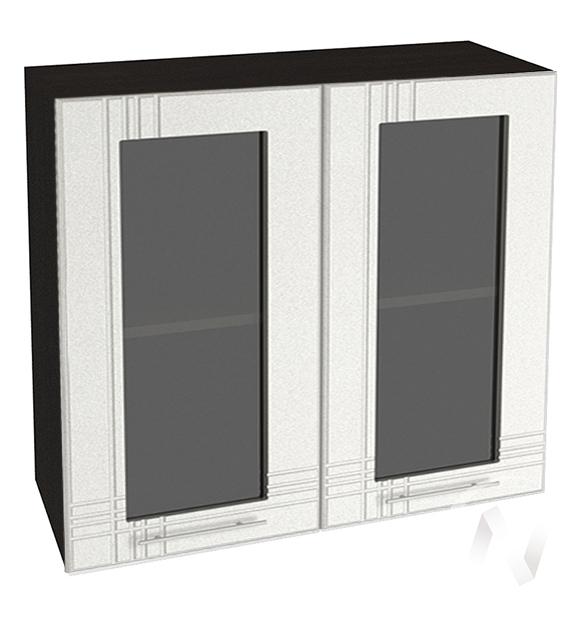 """Кухня """"Струна"""": Шкаф верхний со стеклом 800, ШВС 800 новый (белый металлик/корпус венге)"""