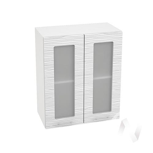 """Кухня """"Валерия-М"""": Шкаф верхний со стеклом 600, ШВС 600 (Страйп белый/корпус белый)"""