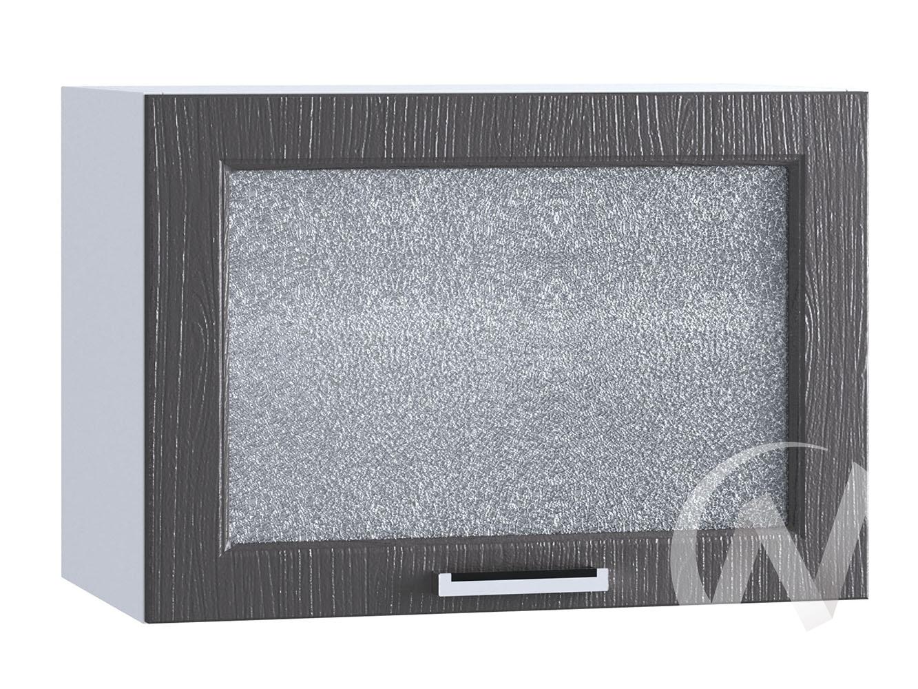 """Кухня """"Луксор"""": Шкаф верхний горизонтальный со стеклом 609, ШВГС 609 (Клен серый/корпус белый)"""