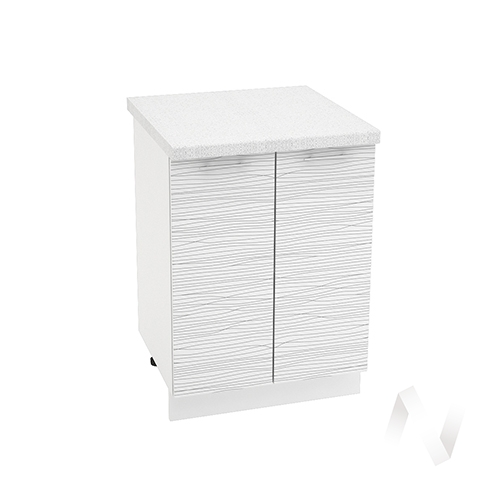 "Кухня ""Валерия-М"": Шкаф нижний 600, ШН 600 (Страйп белый/корпус белый)"