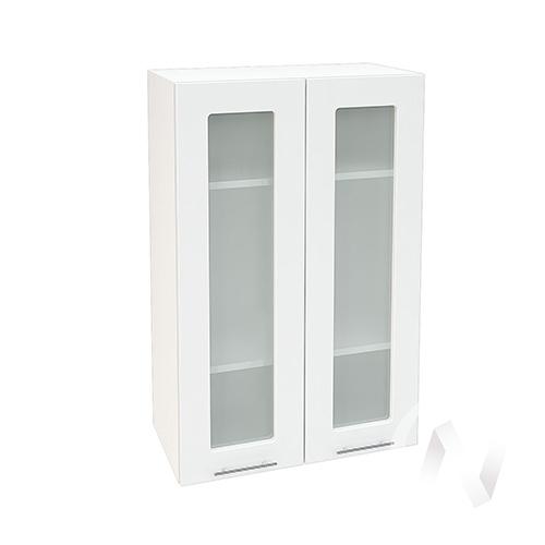 """Кухня """"Валерия-М"""": Шкаф верхний со стеклом 609, ШВС новый 609 (белый глянец/корпус белый)"""