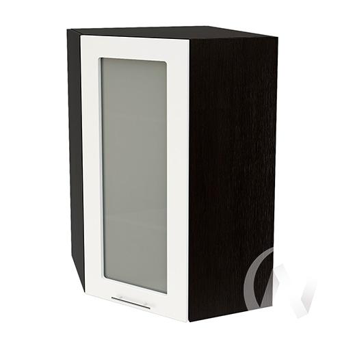"""Кухня """"Валерия-М"""": Шкаф верхний угловой со стеклом 599, ШВУС 599 (белый глянец/корпус венге)"""