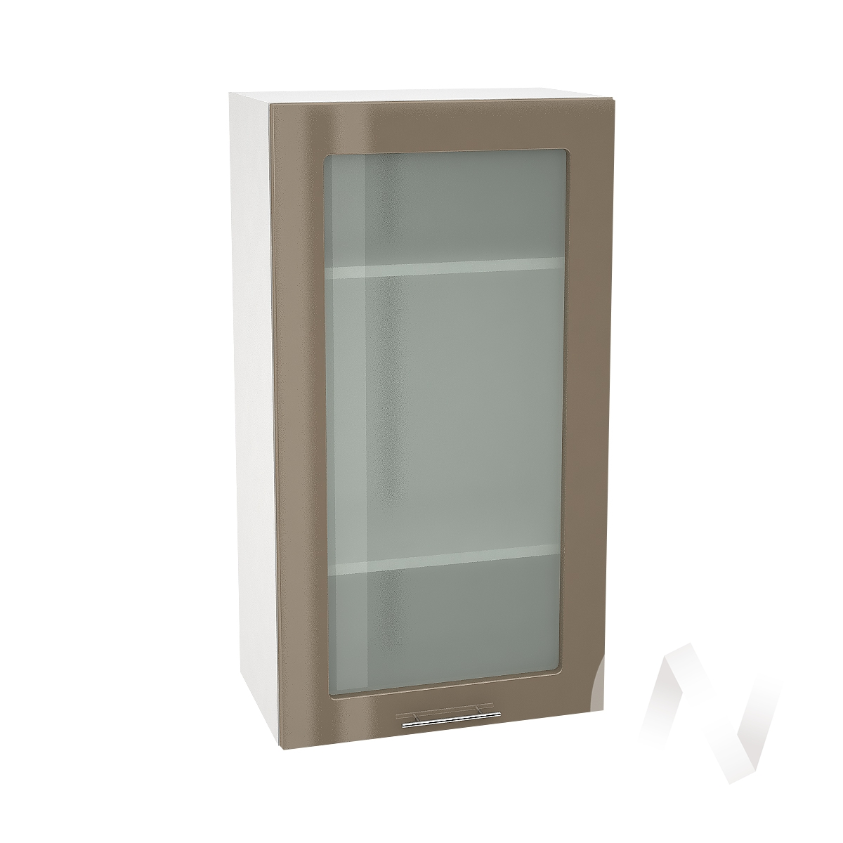 """Кухня """"Валерия-М"""": Шкаф верхний со стеклом 509, ШВС 509 (Капучино глянец/корпус белый)"""